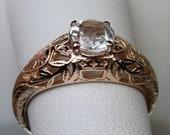 Edwardian Natural White Topaz 14k Rose Gold Filigree Ring Size Made To Order Design 160
