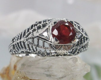 White CZ Ring Sterling Silver White Cubic Zirconia wSimulated Red Ruby Triangle-accents Size 10-In Stock Design#235 Art Deco Filigree