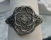 Camphor Glass CZ Solid Sterling Silver Art Deco Design Filigree Ring Size Made To Order 204
