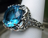 6ct Sim Swiss Blue Topaz Gem Sterling Silver Floral Bow Victorian Filigree Ring Size Made To Order