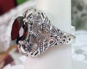 Custom Made Silver Deco Swirl Filigree Design#168 Natural Garnet Ring Solid Sterling Silver Oval 3.63ct Natural Garnet