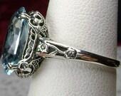 6ct Sim Blue Aquamarine Gemstone Solid Sterling Silver Flower Deco Edwardian Antique Design Floral Motif Filigree Ring Made To Order 70