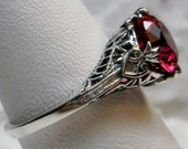 2ct Simulated Red Ruby Sterling Silver Victorian Deco Filigree Ring Size (Made To Order) Design 162