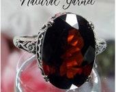 Natural Garnet Ring Solid Sterling Silver 7ct Oval Natural Garnet Floral Art Deco Edwardian Filigree Made To Order Design 70