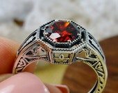 Red Garnet CZ Ring Solid Sterling Silver 2ct Red Garnet Cubic Zirconia Floral Art Deco Eiffel Filigree Size 9 Ring In Stock Design 240