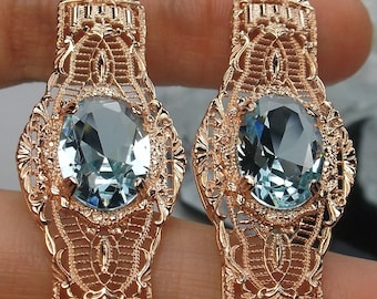 29f09e5c3 Victorian Simulated Oval Blue Aquamarine Art Deco 1920's Rose Gold Plated  Sterling Silver Filigree Long Dangle Earrings {IN STOCK}