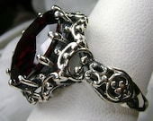 10ct Round Cut Red Garnet CZ Solid Sterling Silver Gothic Filigree Ring Size Made To Order Design 105