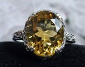 Natural Citrine Ring Solid Sterling Silver 3.3ct Oval Natural Yellow Citrine, Floral Edwardian Filigree Custom Made Design 70z