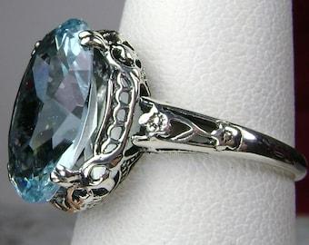 Aquamarine Ring/ Sterling Silver/ 6ct Natural or Sim Blue Gemstone Floral Antique Vintage Filigree [Custom Made] Design#70