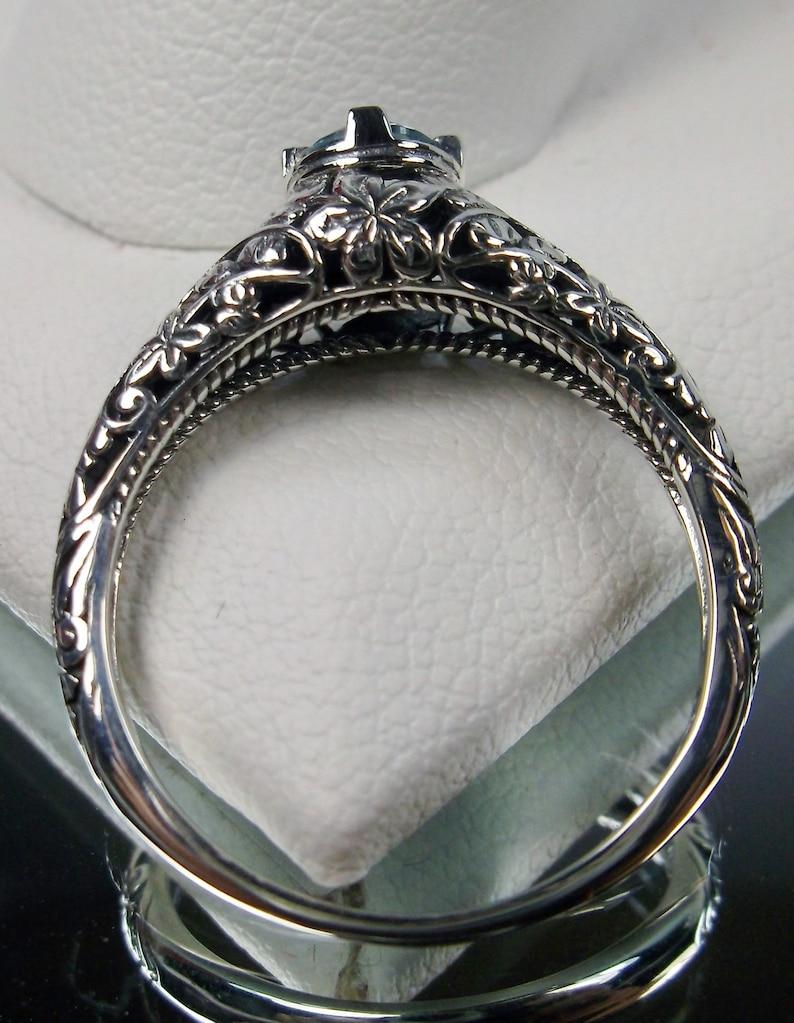 Natural Blue Topaz Ring Sterling Silver Natural Topaz or Aquamarine Edwardian Floral Wedding Leaf Filigree Design#154 Made To Order