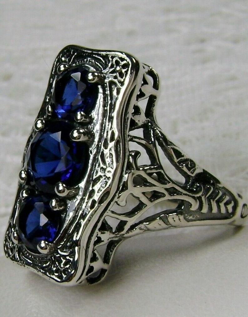 Design#60 In Stock 3Stone Edwardian Art Deco Filigree Sapphire Ring Size 7-Solid Sterling Silver Simulated Blue Sapphire
