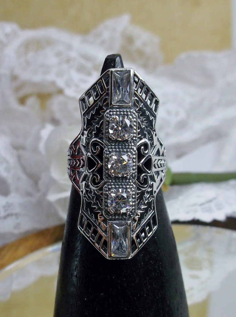 Design#214 White CZ Ring Solid Sterling Silver White Cubic Zirconia Long Art Deco 1930s Filigree Ring Made to Order