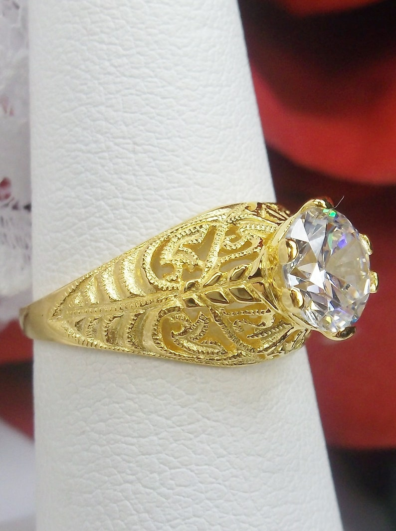 Design #199 Size 5.5 White CZ Yellow Gold Plate /& Sterling Silver Filigree Art Deco Ring