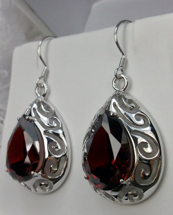 Genuine Red Garnet /& Cubic Zircon Clip-On Eye Shape Earrings Handmade Solid 925 Sterling Silver Fine Jewelry New YearChristmas Gift