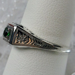SIM Emerald Antique Art Deco Style 925 Sterling Silver Ring Size 10 KN-2811 3 CT