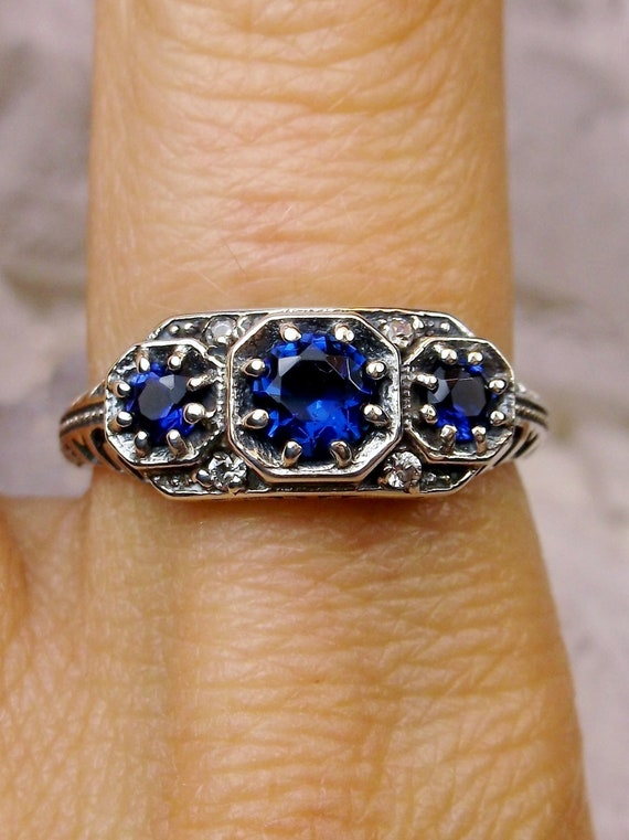 Details about  /Genuine Blue Sapphire 925 Sterling Silver Adjustable Ring-Gorgeous