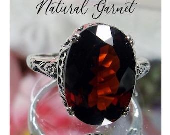 Garnet Ring/ Solid Sterling Silver/ 6ct Oval Faceted Red Garnet / Silver Floral Art Deco Edwardian Filigree [Custom Made] Design#70