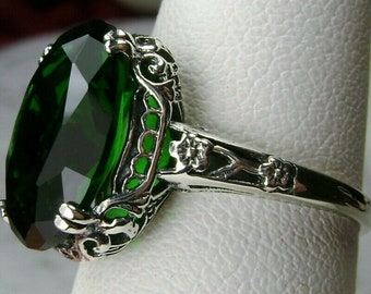 Emerald Ring/ Sterling Silver/ 6ct Oval Simulated Emerald Gem Silver Floral Art Deco Edwardian Filigree [Custom-Made] Design#70