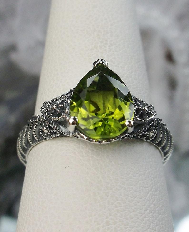 Design # 187 1.7ctwt TearPear Drop Natural Green Peridot Art Deco Design Sterling Silver Filigree Ring Size 8 In Stock