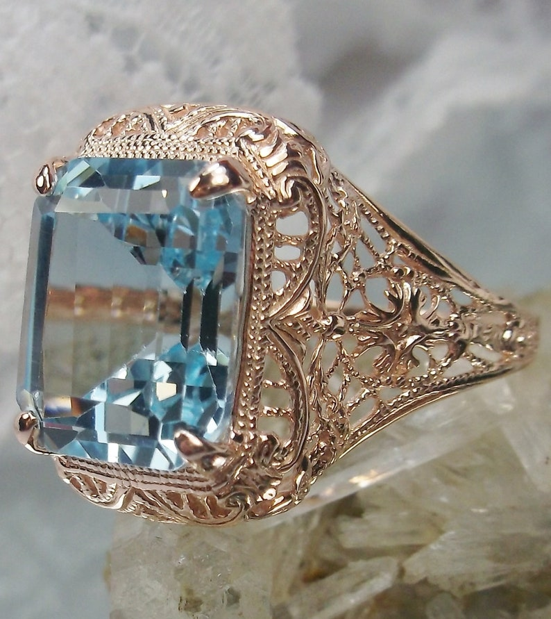 Autumn Design#200 Custom Made Natural Topaz Ring Rose Gold plated Sterling Silver 6ct Natural Sky Blue Topaz Floral Victorian Filigree