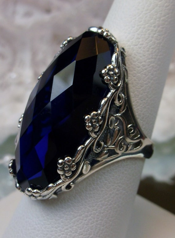 925 Sterling Silver Faceted Blue Sapphire Oval Big Ring