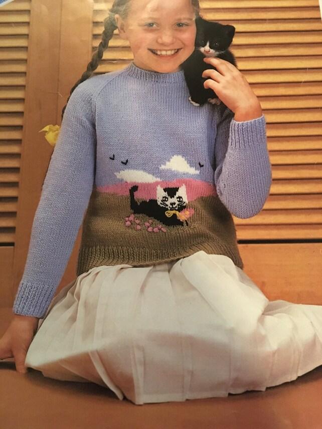 Knitting Pattern Children Girl Boy Cat Design Jumper DK | Etsy