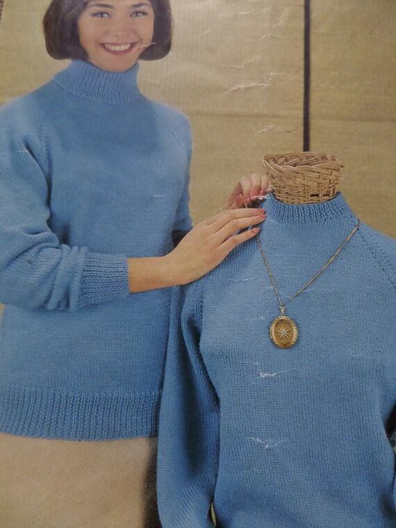 Knitting Pattern Women Ladies Jumper Round And Polo Neck Dk 3 Etsy