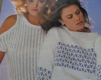 "Knitting Pattern Women Ladies Top and Short Sleeved Jumper Cotton 32-42"" Vintage"