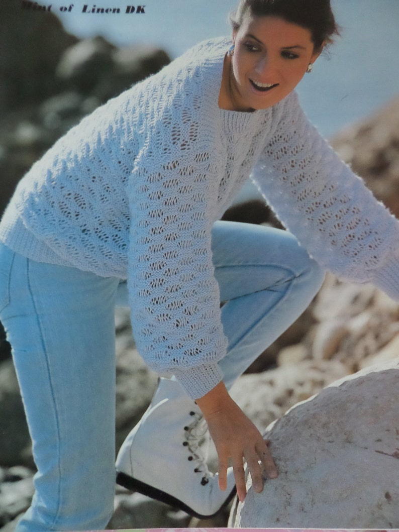60487c282 Knitting Pattern Women Ladies Jumper Simple Lacy Sweater DK