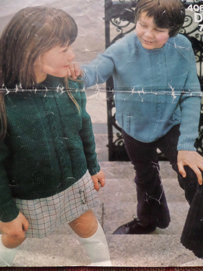 b5ca3cb6f34c Knitting Pattern Children Girl Boy Raglan Sweater Jumper with