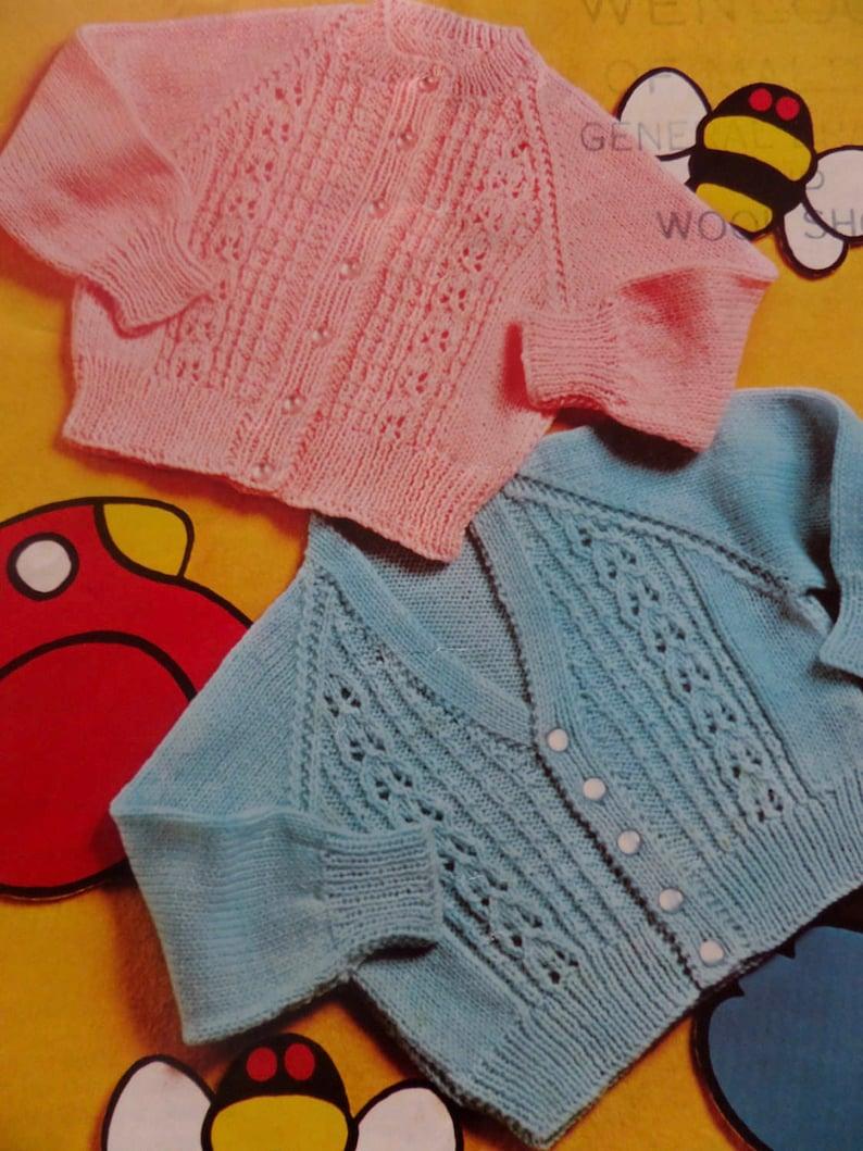 Knitting Pattern Baby Children 2 Styles of Cardigan 4 Ply ...