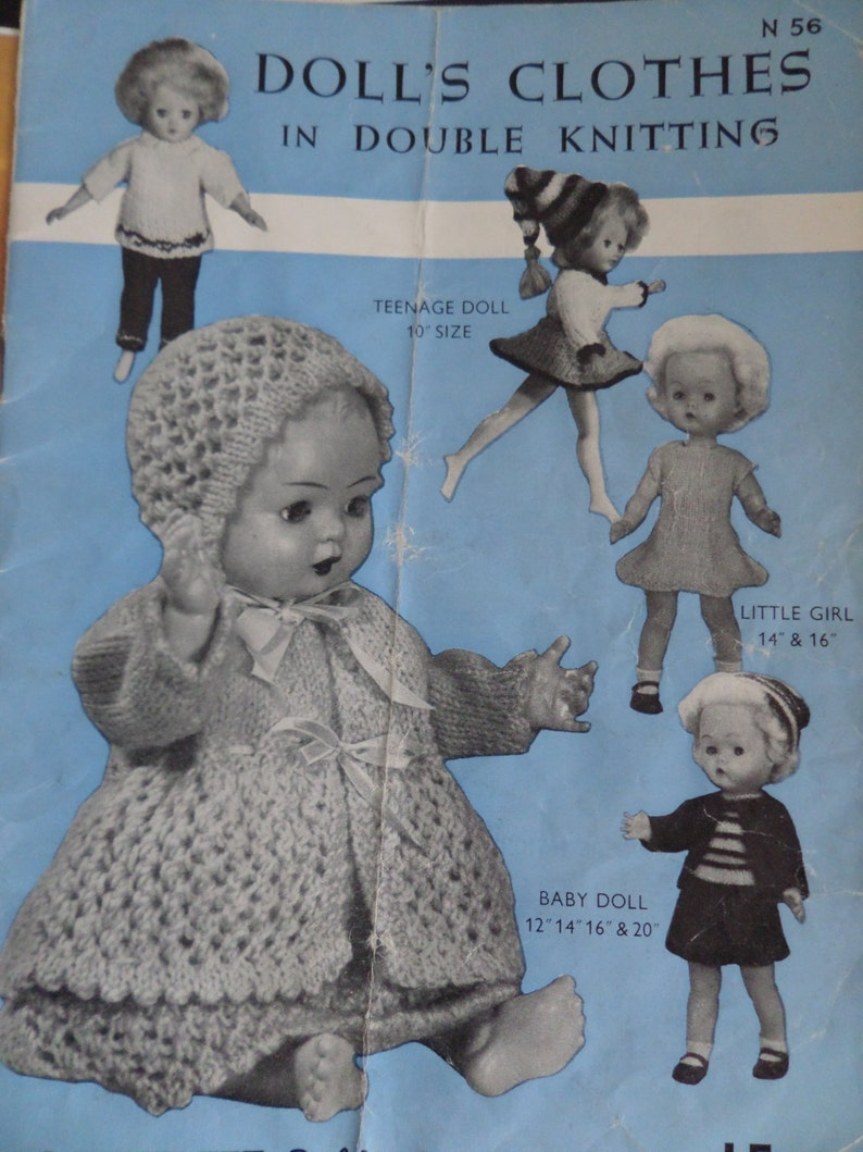 7bee50de6d62 Knitting Pattern Dolls Clothing To Fit 10-20 Dolls