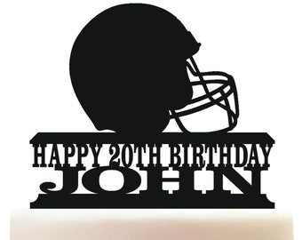 LED Lighted or Unlit Football Helmet Sports Acrylic Cake Topper Birthday Custom Personalized plus Favors