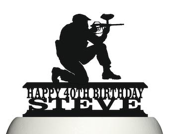 Personalised Acrylic Paintball Gun & Player Birthday Keepsake Cake Topper Decoration