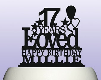 Personalised Acrylic 17th Birthday Years Loved Theme Cake Topper Decoration