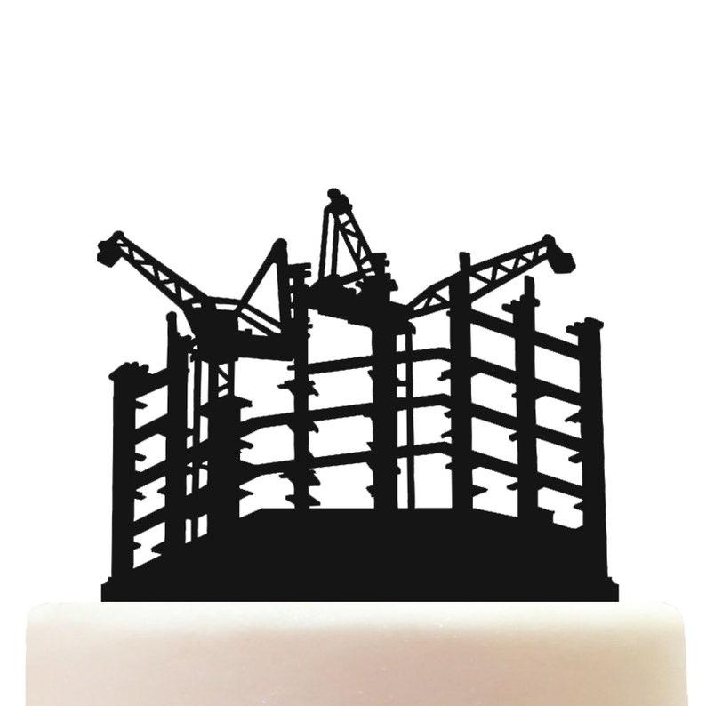 Acrylic Construction Building Site Engineering Celebration Birthday Cake Topper Decoration