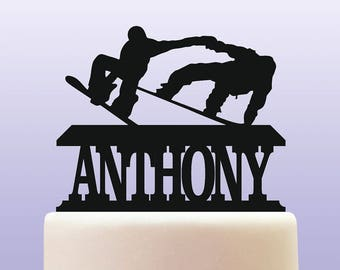 Personalised Acrylic Snowboarding Birthday Keepsake Cake Topper Decoration