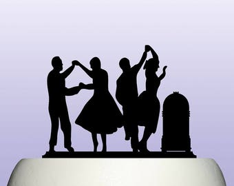 Acrylic Retro Fifties Rock And Roll Dancing Couple Cake Topper