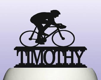 Personalised Acrylic Cycling Birthday Keepsake Cake Topper Decoration