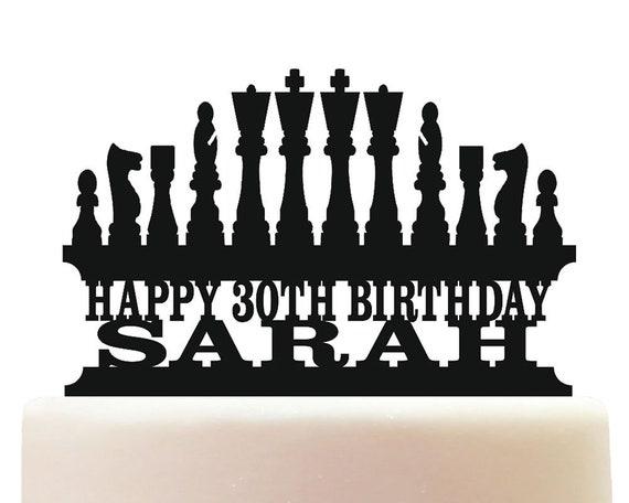 Fine Personalised Acrylic Chess Birthday Keepsake Cake Topper Etsy Funny Birthday Cards Online Overcheapnameinfo