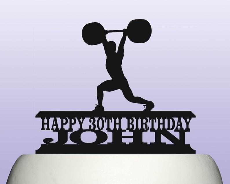 Personalised Acrylic Weightlifting Clean & Jerk Mens Birthday Cake Topper