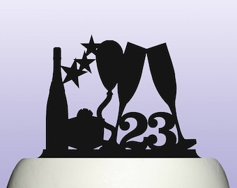 Acrylic Any Age Number Birthday Balloon and Stars Cake Topper Decoration