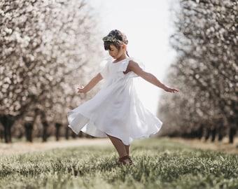 Pure white linen 'Savanna' dress or top / flower girl dress