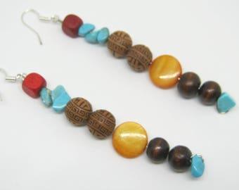 Tibetan Colourful Earrings, Himalayas, Nepal, Orange, Red, Brown, Turquoise Beaded Earrings
