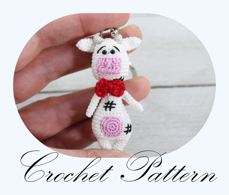 CROCHET PATTERN: Amigurumi Cow Cow Key Chain Crochet Cow