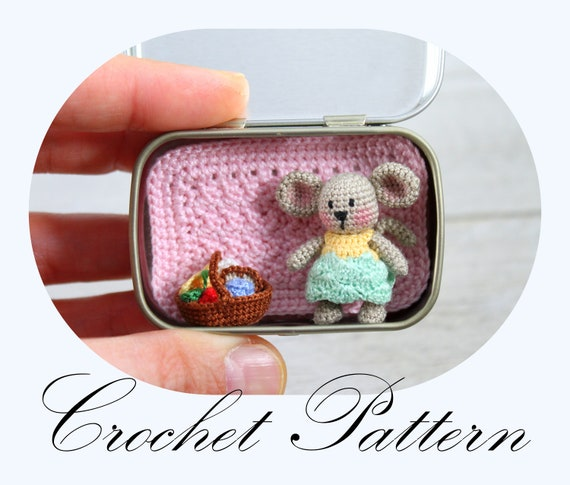 Tiny Mouse in a Tin Box Playset Crochet Pattern - Cool Creativities   485x570
