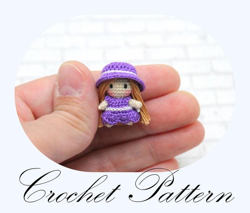 PATTERN: Micro Mini Doll Amigurumi Pattern Miniature Doll image 0