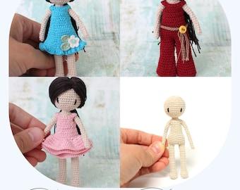 PATTERN BUNDLE: Crochet Doll Pattern, Amigurumi Doll, Crochet Amigurumi (Pattern Bundle - Doll and Outfits) English ONLY