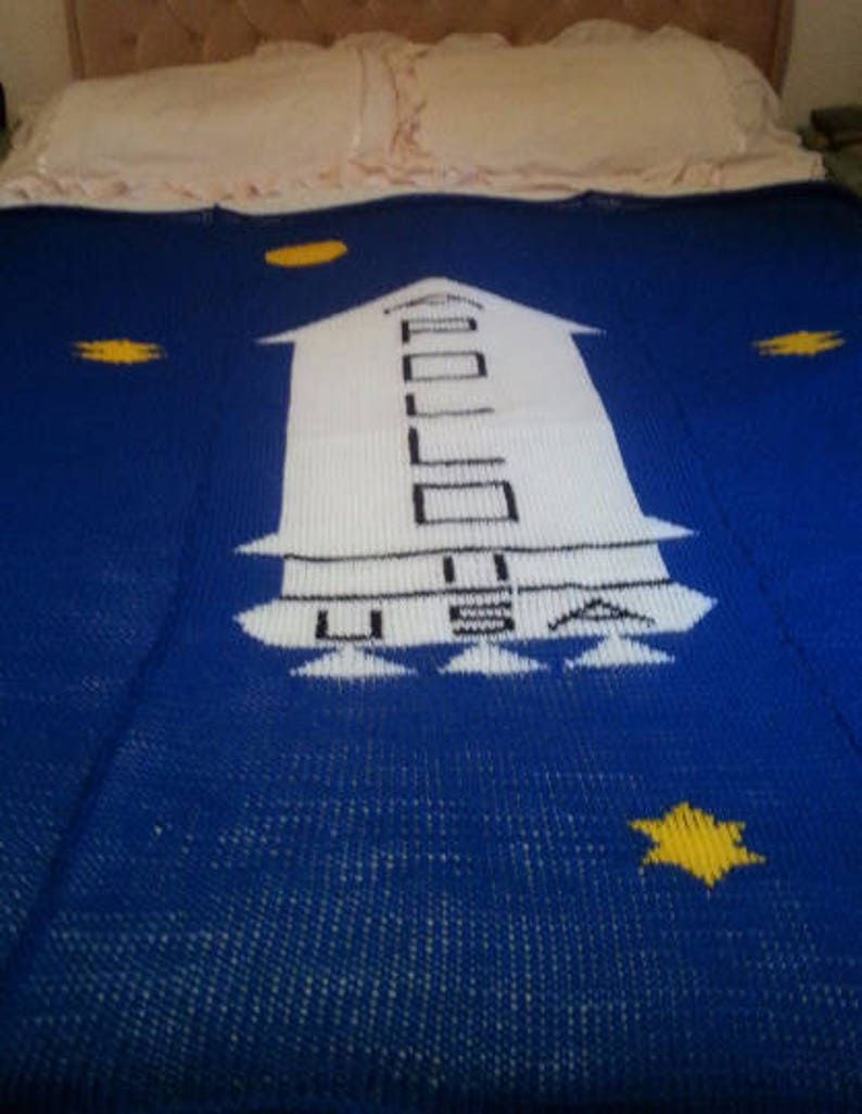 Ready to ship Knitted Kubrick Apollo Throw in Blue.
