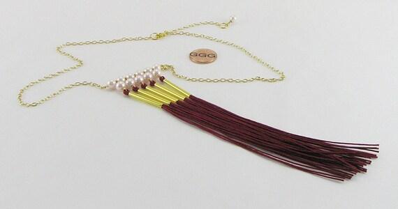 47ddf1af2e16 Collares perlas cristales cordón sedoso tubos de oro o